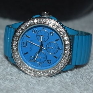 Vintage 90's Blue Bedazzled Watch by Studio Time